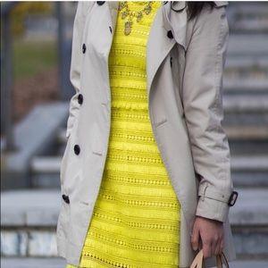 J crew yellow tassel fringe embroidered dress